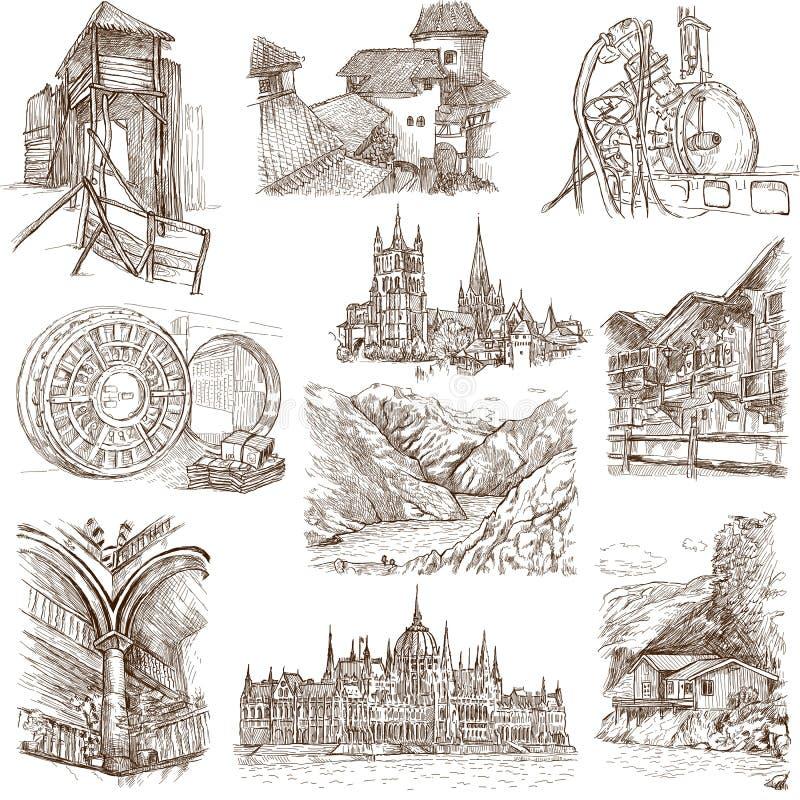 Gebäude und Architektur lizenzfreie abbildung