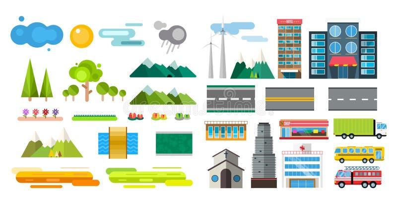 Gebäude und flache Art des Stadttransportes vektor abbildung