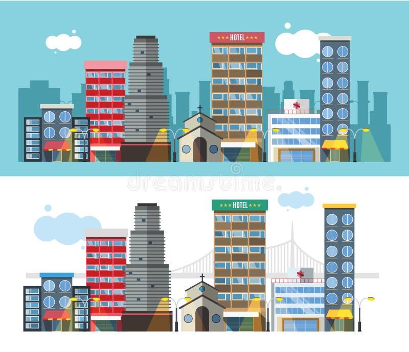 Gebäude und flache Art des Stadttransportes stock abbildung