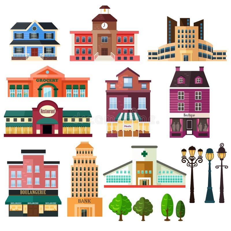 Gebäude und Laternenpfahlikonen vektor abbildung
