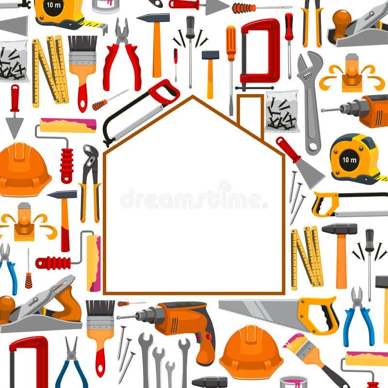 Gebäude und Reparaturarbeitswerkzeugplakat vektor abbildung