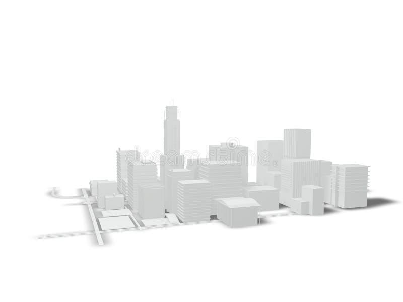 Gebäude und Straßen auf einem weißen Hintergrund stock abbildung