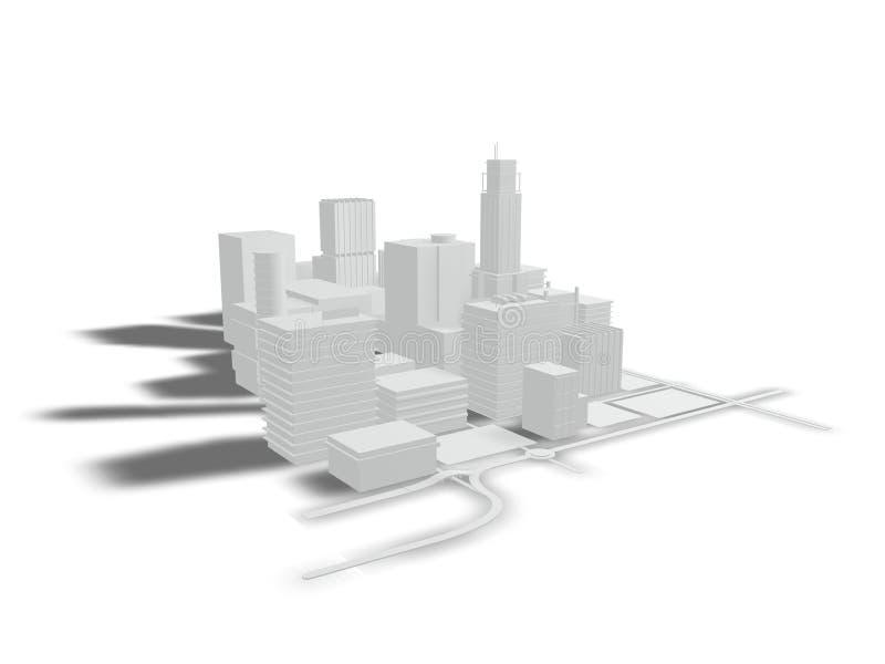 Gebäude und Straßen auf einem weißen Hintergrund lizenzfreie abbildung