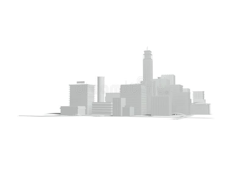 Gebäude und Straßen auf einem weißen Hintergrund vektor abbildung