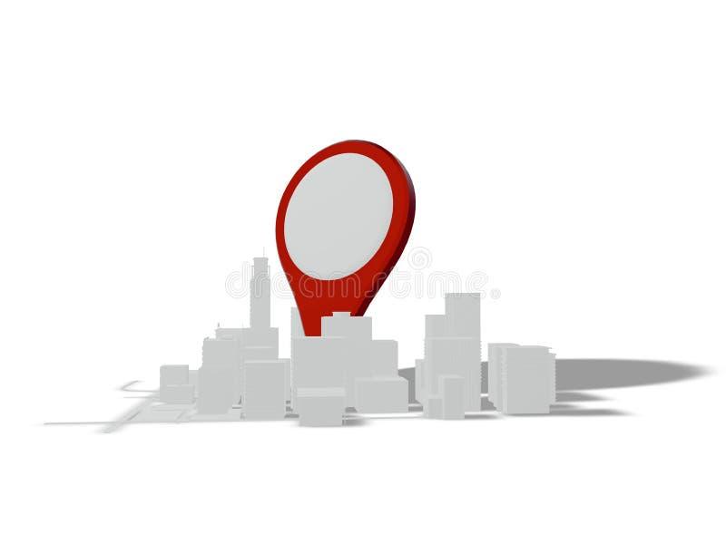 Gebäude und Straßen auf einem weißen Hintergrund mit Placeholders vektor abbildung