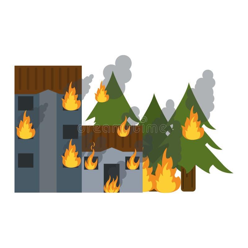 Gebäude und Wald im Feuer vektor abbildung