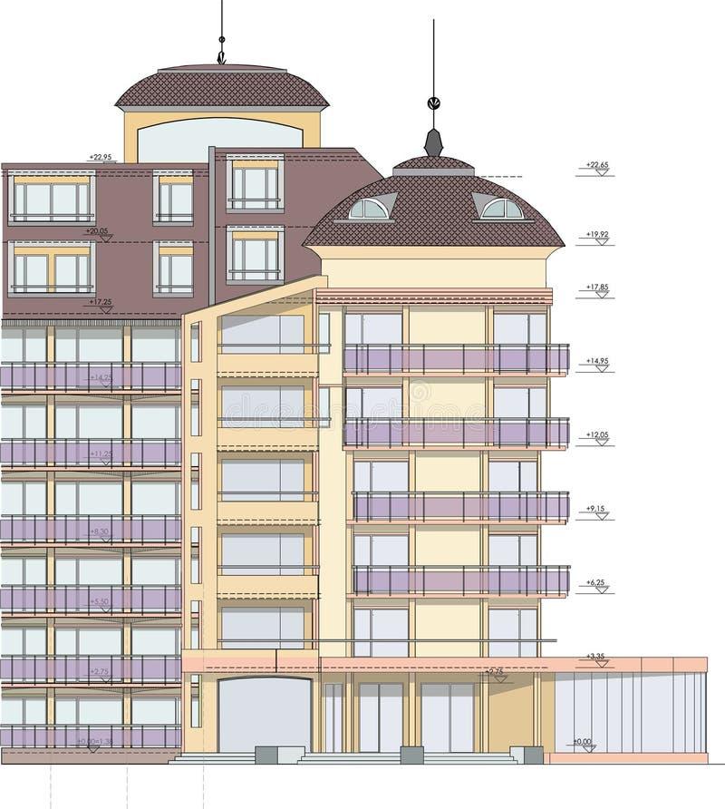 Gebäudefassadezeichnung lizenzfreie stockbilder