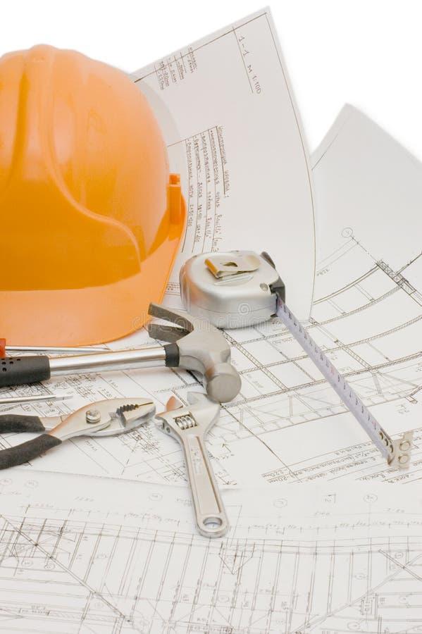 Gebäudehilfsmittel auf dem Hausprojekt stockfotografie