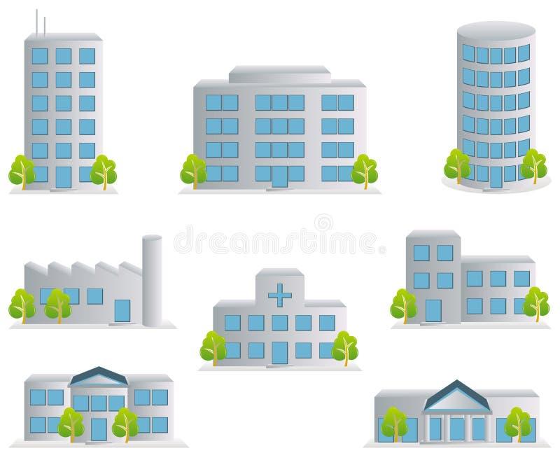 Gebäudeikonen eingestellt stock abbildung