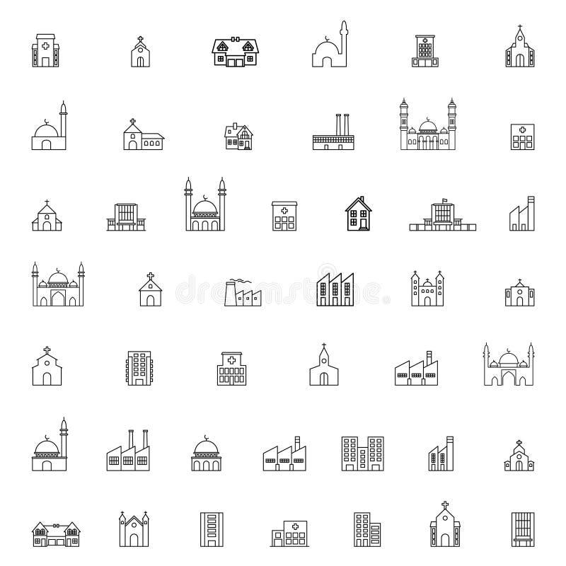 Gebäudeikonen eingestellt, Illustration lizenzfreie abbildung