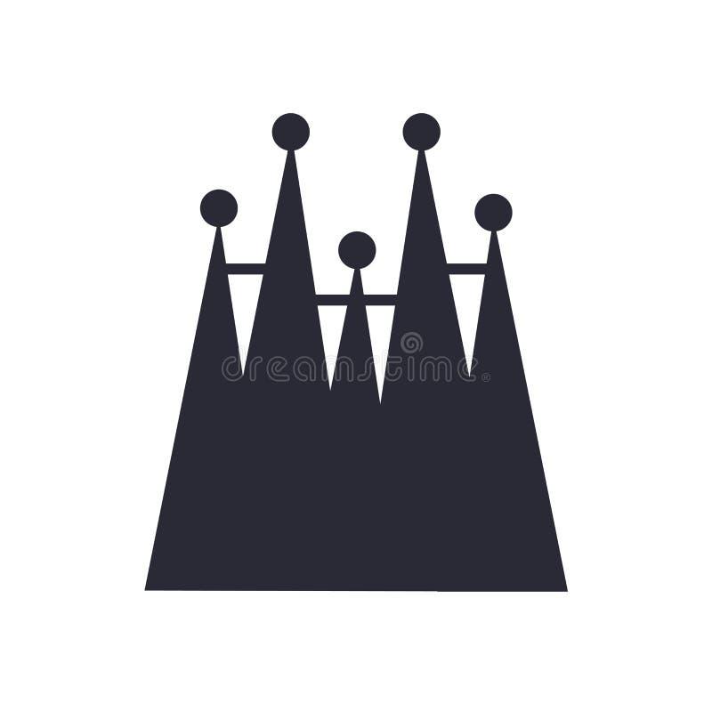 Gebäudeikonenzeichen und -symbol Sagrada Familia lokalisiert auf weißem Hintergrund, Gebäude-Logokonzept Sagrada Familia stock abbildung