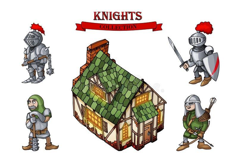 Gebäudekarikatur-Gegenstandsatz der mittelalterlichen Charaktere historischer lizenzfreie abbildung