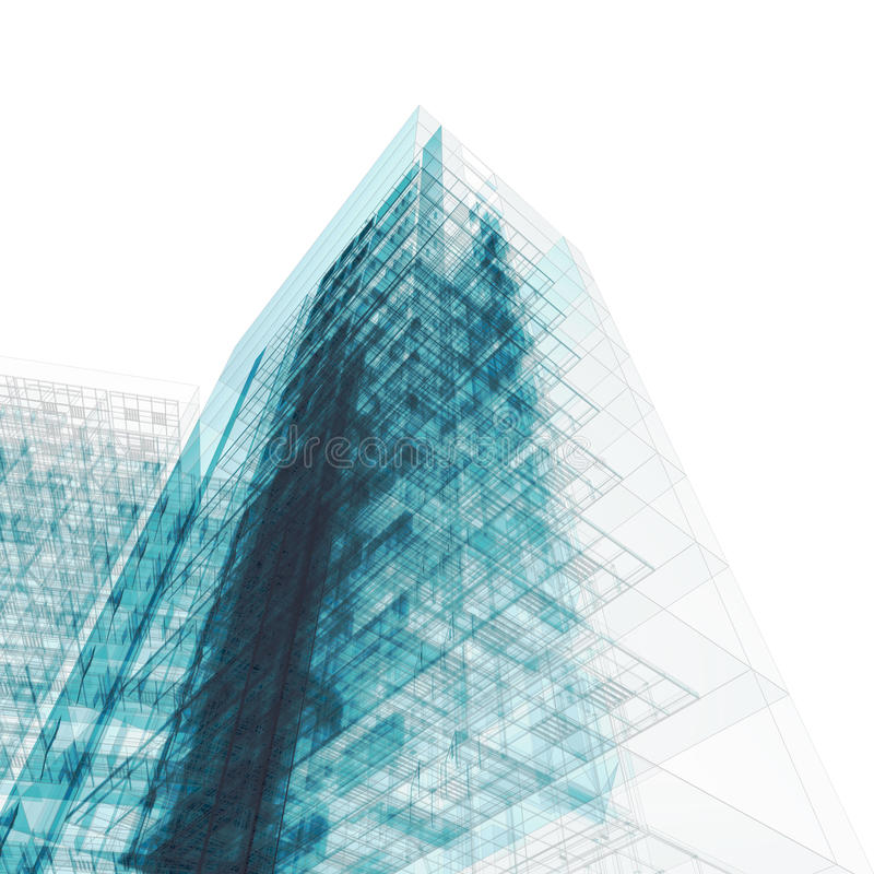 Gebäudelichtpause auf Weiß stock abbildung