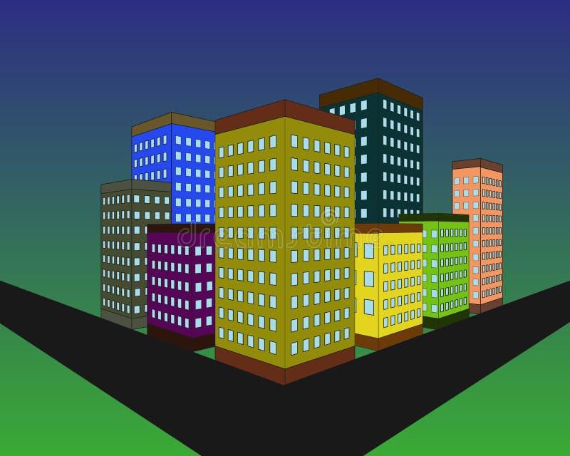 Gebäudeschattenbild am Abend Modernes Stadtdesign Gebäude auf dem blauen Hintergrund des bewölkten Himmels Auch im corel abgehobe vektor abbildung