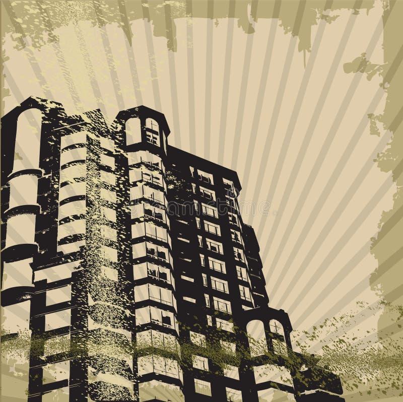 Gebäudeschattenbilder stock abbildung
