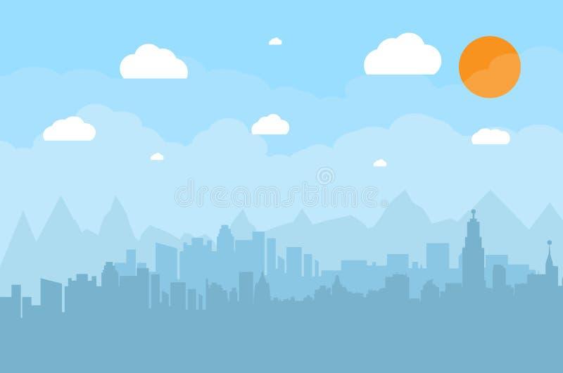 Gebäudeschattenbildstadtbild lizenzfreie abbildung