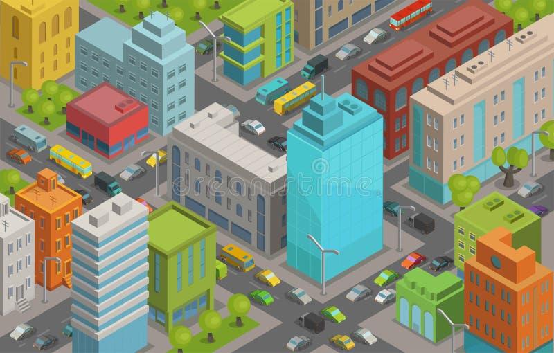 Gebäudestadt-Straßenstraßen und Verkehr isometrisches 3d vector Illustration Stadtlandschaft, Draufsicht vektor abbildung