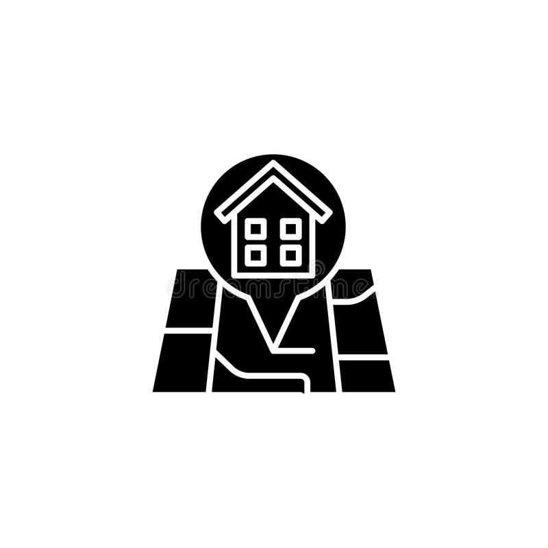Gebäudestandortschwarz-Ikonenkonzept Flaches Vektorsymbol des Gebäudestandorts, Zeichen, Illustration stock abbildung