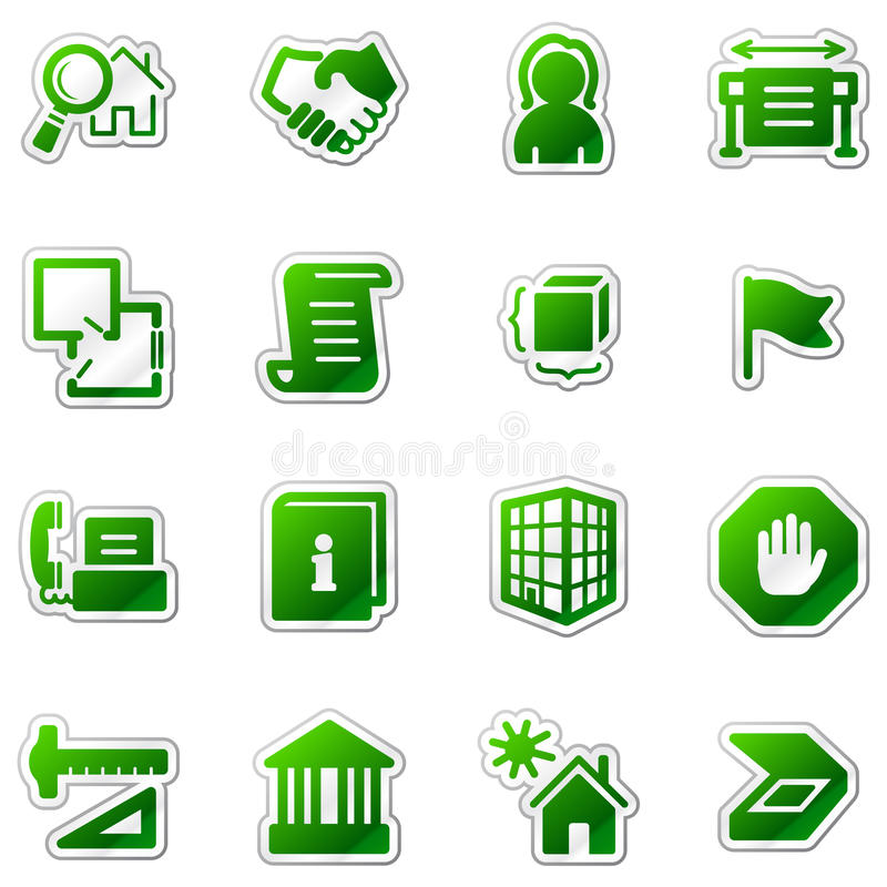 Gebäudeweb-Ikonen, grüne Aufkleberserie lizenzfreie abbildung
