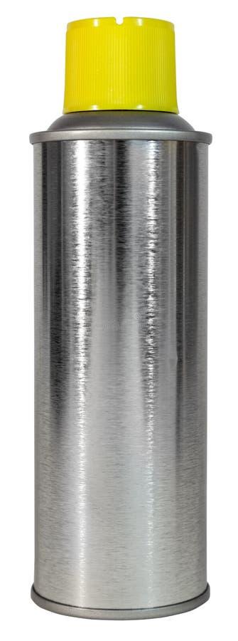 Gebürstete Metallspray-Dose mit gelber Plastikkappe lizenzfreie stockfotos