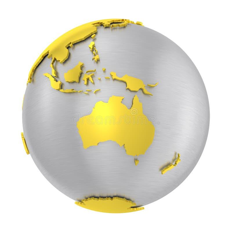 Gebürstete Stahl-Erdkruste der Kugel 3D Gold vektor abbildung