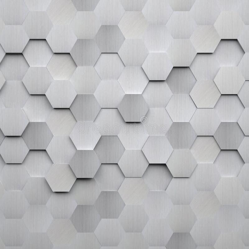 Gebürsteter Metallhexagon-Hintergrund vektor abbildung