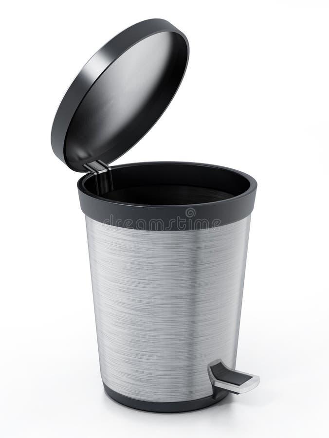Gebürsteter Stahlabfalleimer lokalisiert auf weißem Hintergrund Abbildung 3D stock abbildung