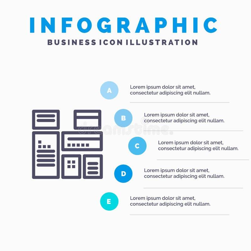 Gebürtig, annoncierend, gebürtige Werbung, vermarktende Linie Ikone mit Hintergrund infographics Darstellung mit 5 Schritten stock abbildung