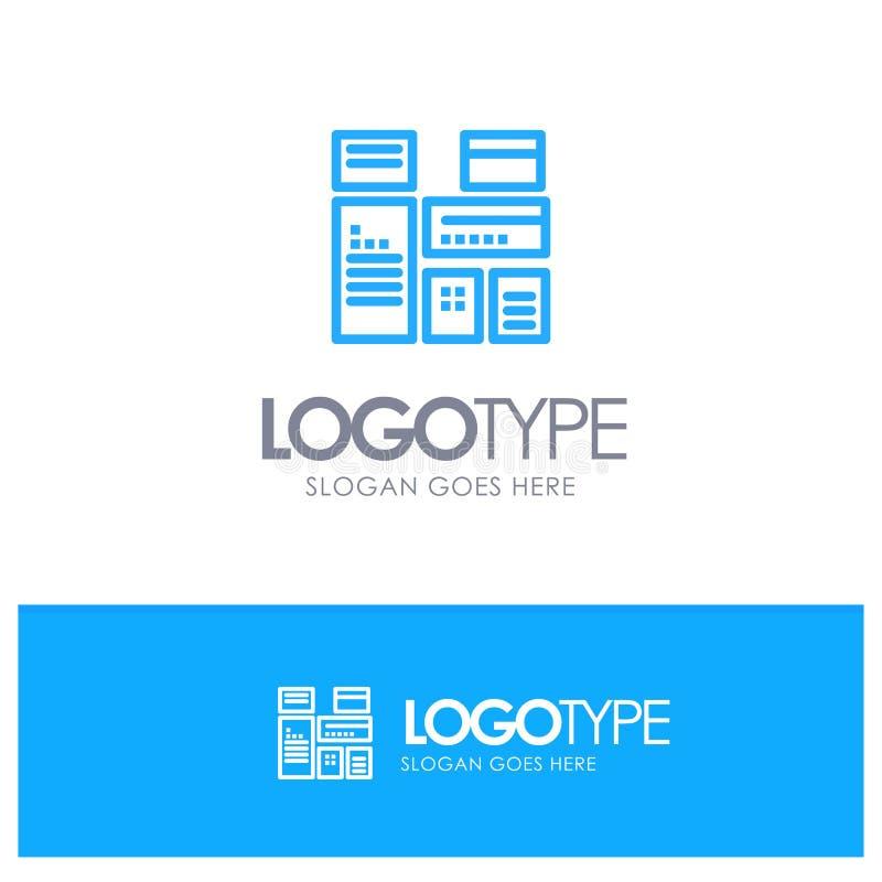 Gebürtig, annoncierend, gebürtige Werbung, vermarktender blauer Entwurf Logo Place für Tagline stock abbildung