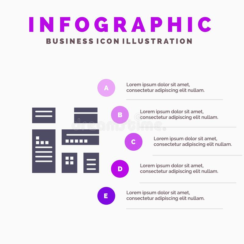 Gebürtig, annoncierend, gebürtige Werbung, vermarktender fester Schritt-Darstellungs-Hintergrund Ikone Infographics 5 stock abbildung