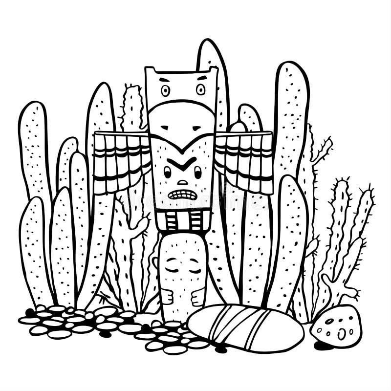 Gebürtige Indianer traditioneller Totempfahl und Kakteen Vektorhandgezogene Entwurfsgekritzel-Skizzenillustration stock abbildung