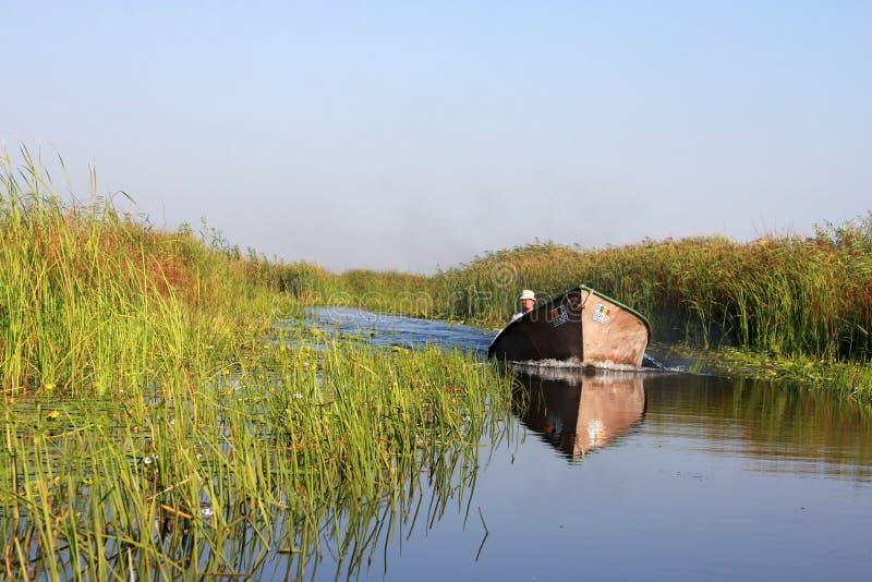 Gebürtige Männer vom Donau-Dreieck mit schnellem Boot lizenzfreies stockbild