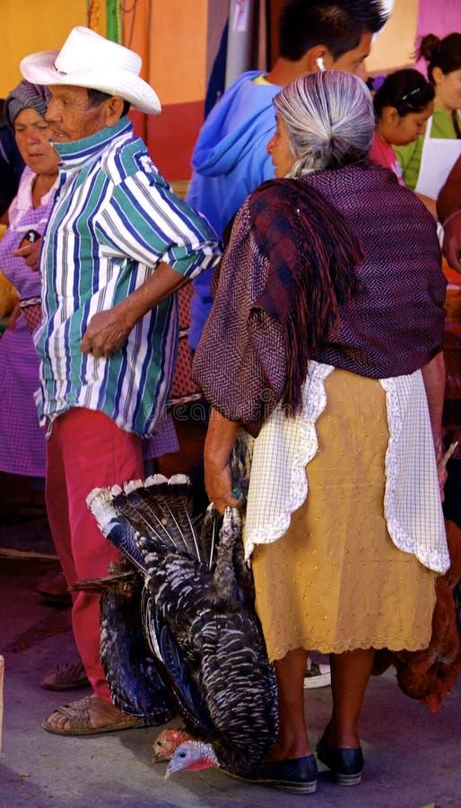 Gebürtige mexikanische Leute mit Truthahn stockfotografie
