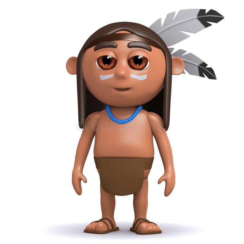 gebürtiger Indianer 3d lizenzfreie abbildung