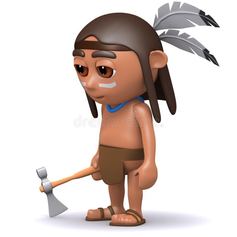 gebürtiger Indianer 3d mit Axt stock abbildung