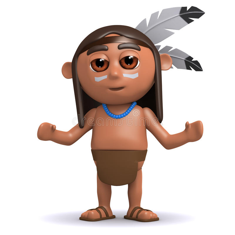 gebürtiger Indianer 3d mit den Armen ausgestreckt stock abbildung