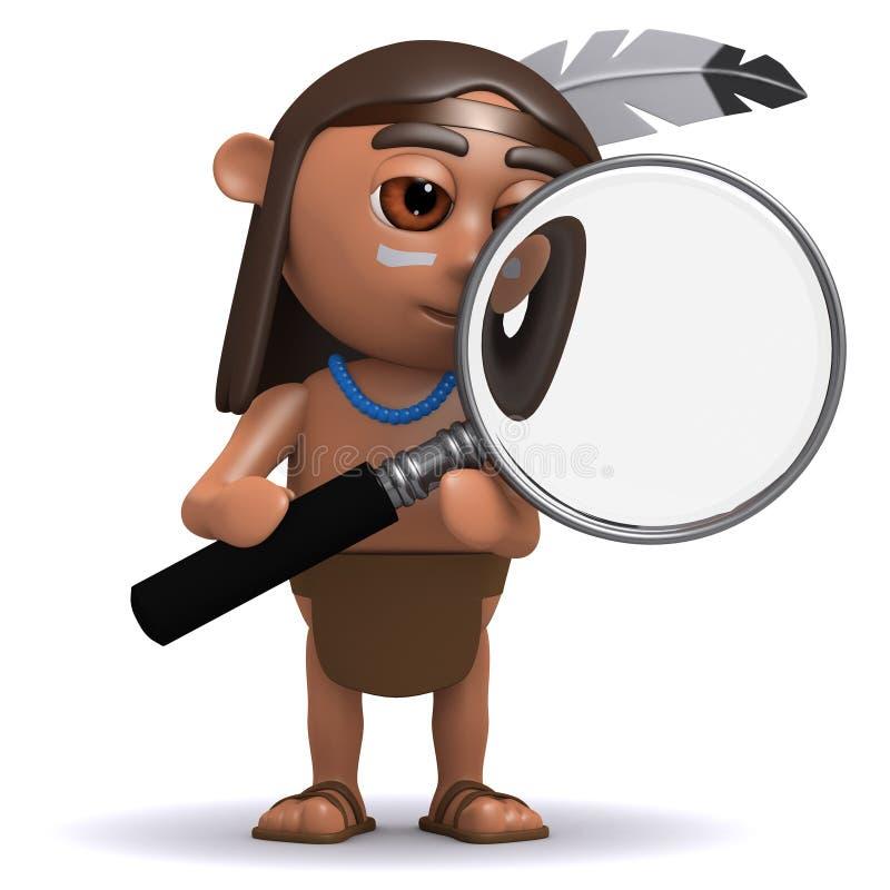 gebürtiger Indianer 3d mit Lupe vektor abbildung