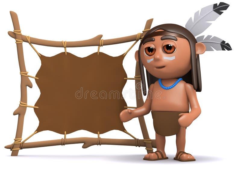 gebürtiger Indianer 3d mit Tierhaut lizenzfreie abbildung