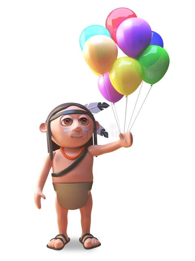 Gebürtiger Indianer mit den Ballonen, zum einer Partei, Illustration 3d zu feiern lizenzfreie abbildung