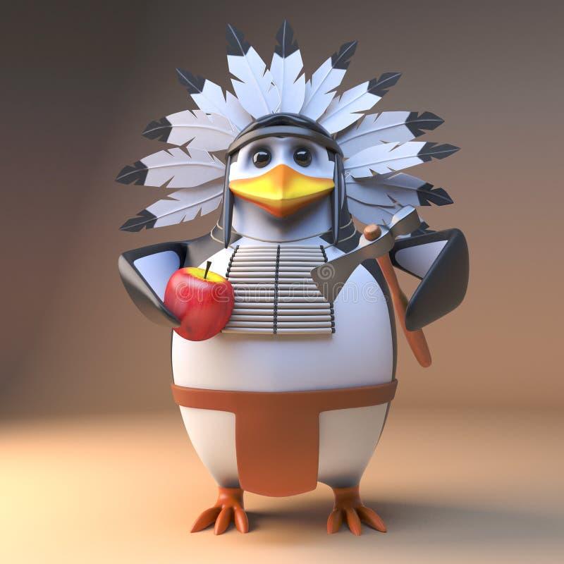 Gebürtiger indianischer Häuptling der lustigen Karikatur 3d im mit Federn versehenen Kopfschmuck, der einen Apfel mit einer Axt,  vektor abbildung