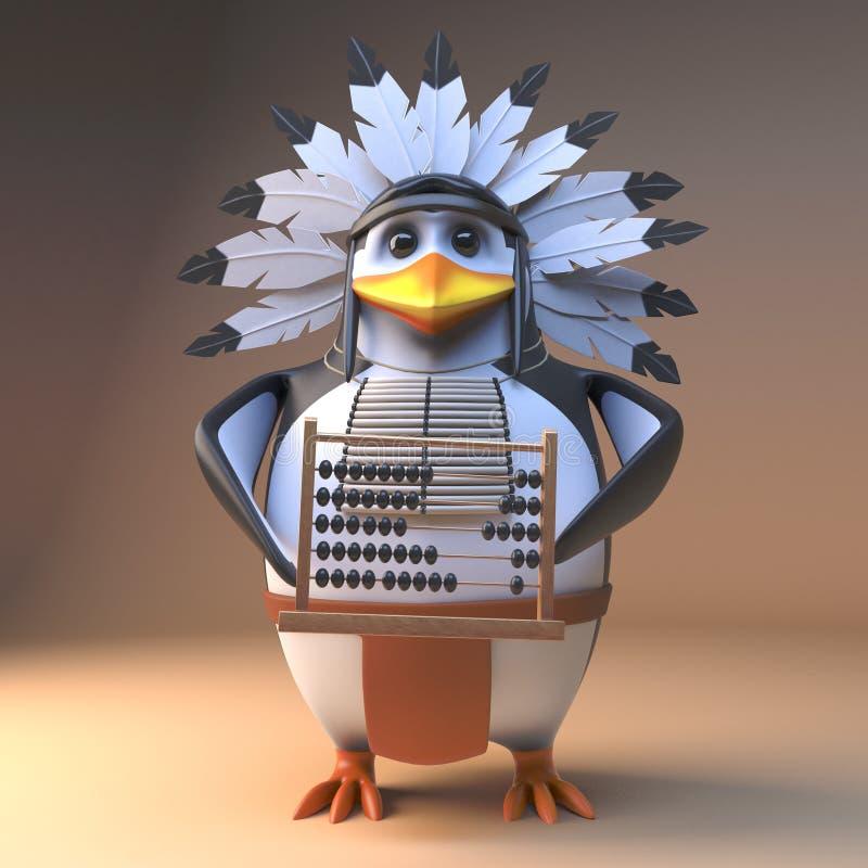 Gebürtiger indianischer Hauptpinguin der lustigen Karikatur 3d im mit Federn versehenen Kopfschmuck, der einen Abakus, Illustrati lizenzfreie abbildung