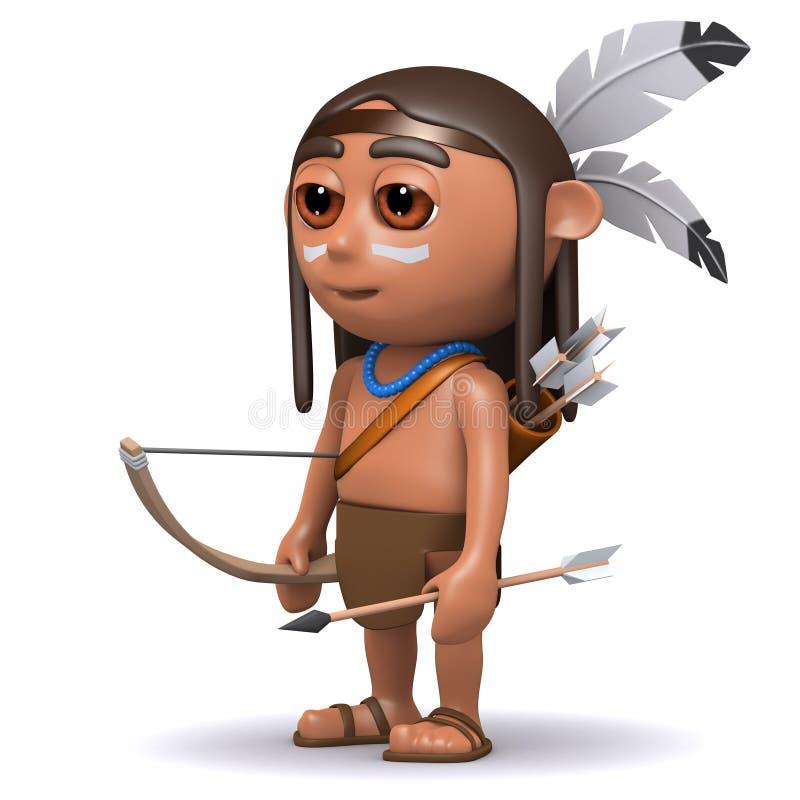 gebürtiger indianischer Junge 3d mit Pfeil und Bogen stock abbildung