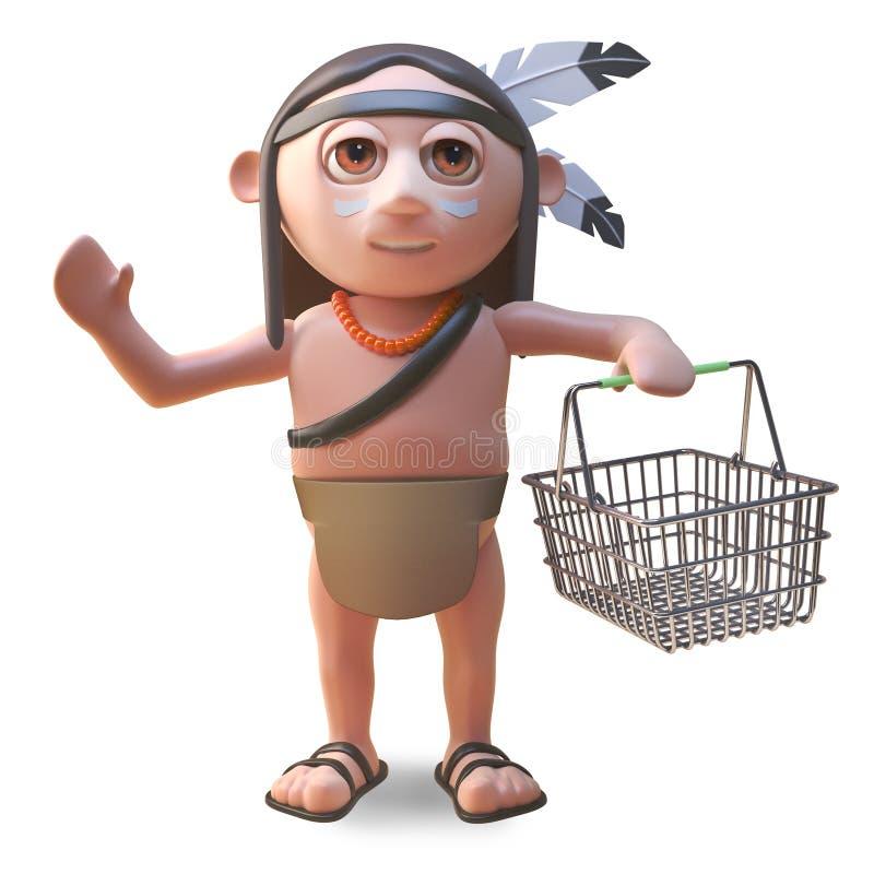 Gebürtiger indianischer Mann der Karikatur, der einen Einkaufskorb, Illustration 3d trägt vektor abbildung