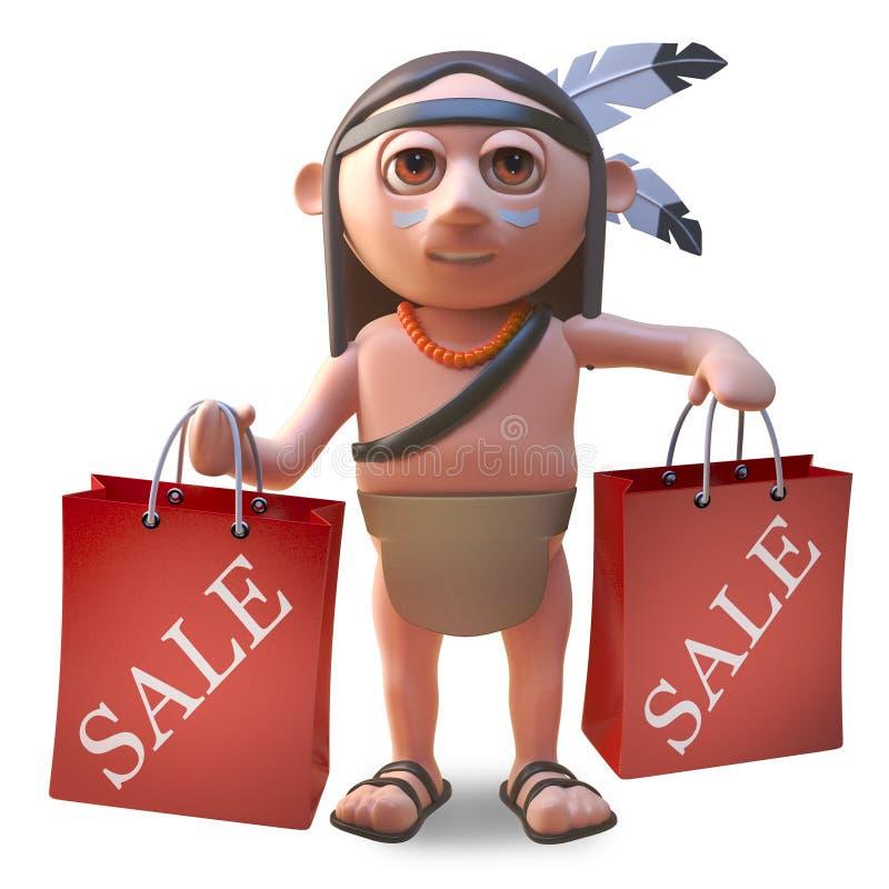 Gebürtiger indianischer Mann der Karikatur, der Einkaufstaschen von einem Verkauf, Illustration 3d hält lizenzfreie abbildung