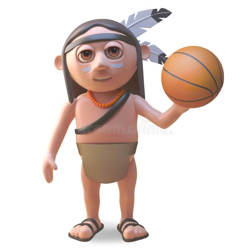 Gebürtiger indianischer Mann der Karikatur, der mit einem Basketball, Illustration 3d spielt vektor abbildung