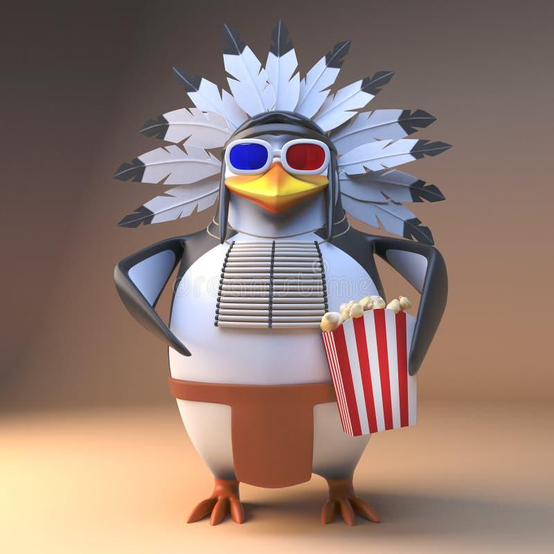 Gebürtiger indianischer Pinguinleiter der Karikatur in mit Federn versehenem Kopfschmuck eatpopcorn an einem Film 3d, Illustratio vektor abbildung