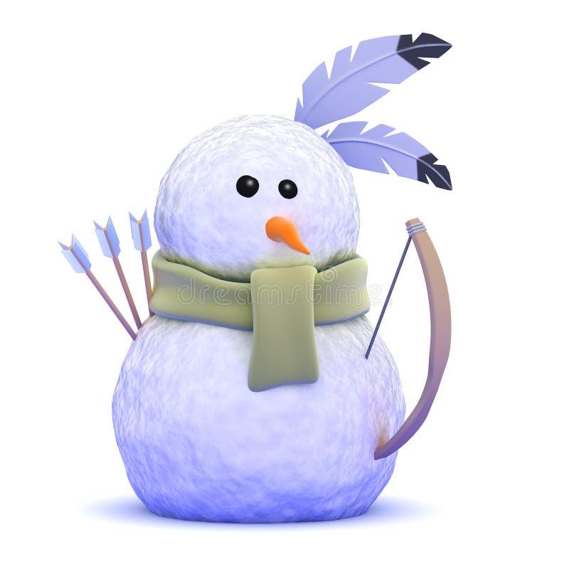 gebürtiger indianischer Schneemann 3d mit Pfeil und Bogen lizenzfreie abbildung