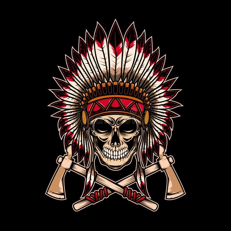 Gebürtiger indischer Hauptschädel mit gekreuzten Kriegsbeilen auf dunklem Hintergrund Gestaltungselement für Logo, Aufkleber, Emb lizenzfreie abbildung