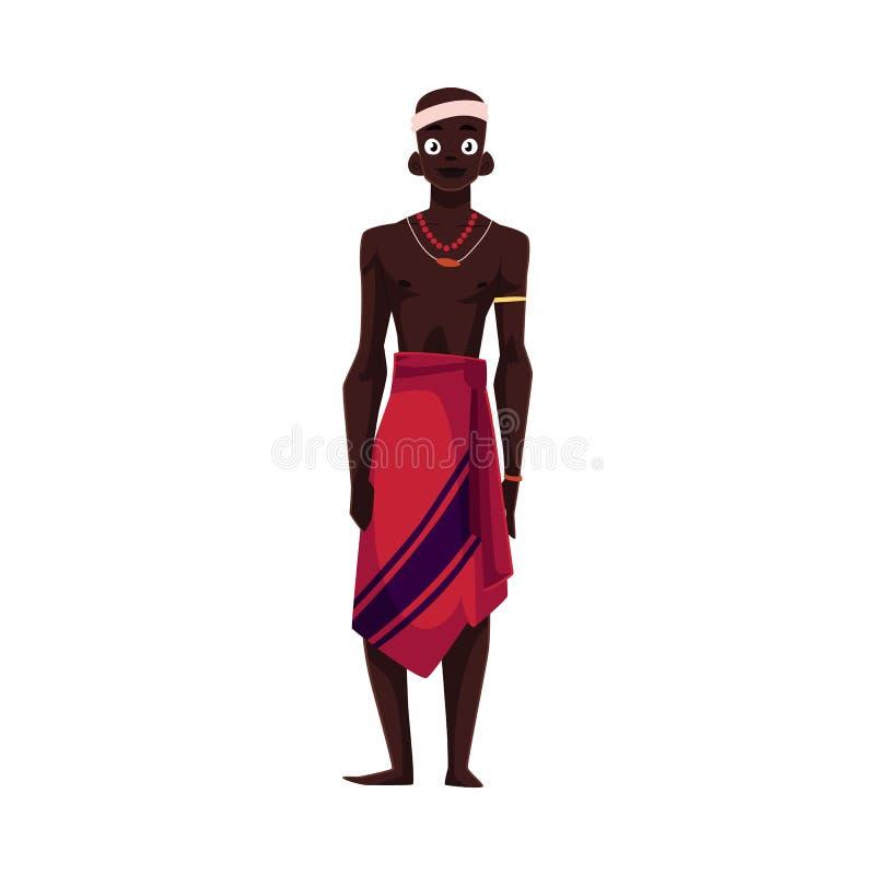 Gebürtiger Ureinwohner vom afrikanischen Stamm im Lendenschurz und in der Perlenhalskette stock abbildung