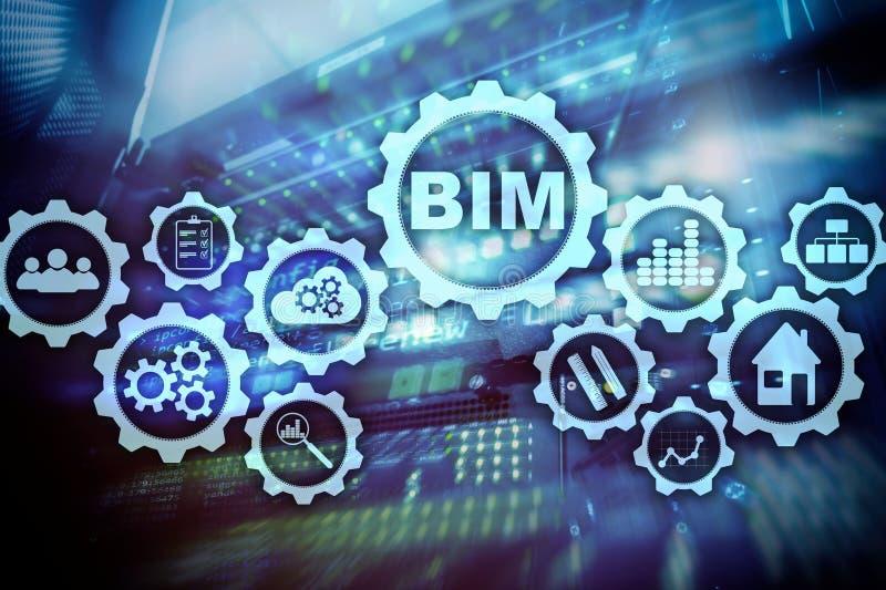 Geb?udeinformationsmodellieren BIM auf dem virtuellen Schirm mit einem ServerRechenzentrumhintergrund lizenzfreie abbildung